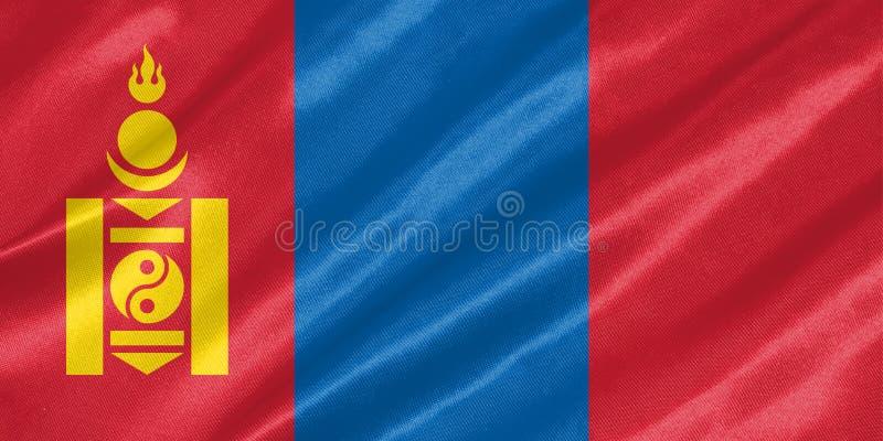Mongoliet flagga stock illustrationer