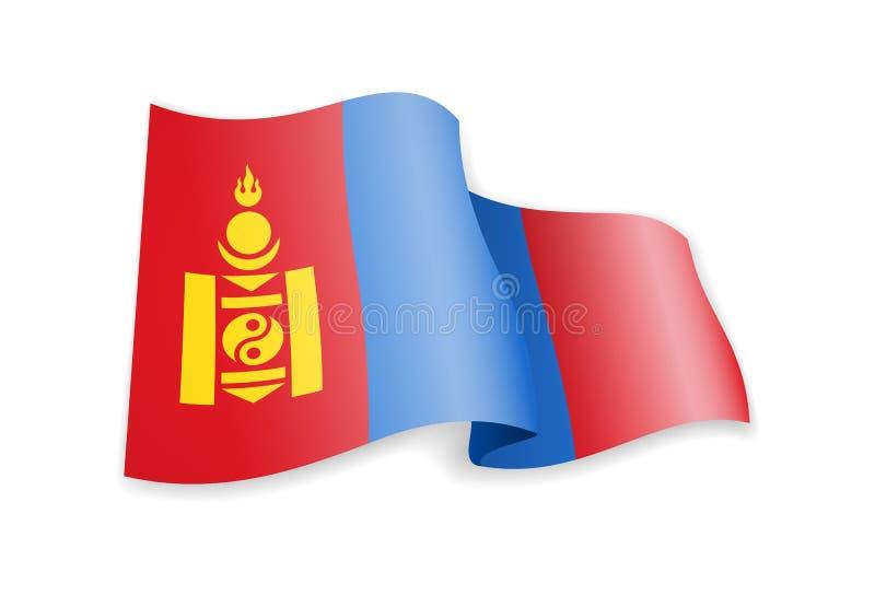 Mongoliet flagga i vinden Flagga p? den vita vektorillustrationen royaltyfri illustrationer