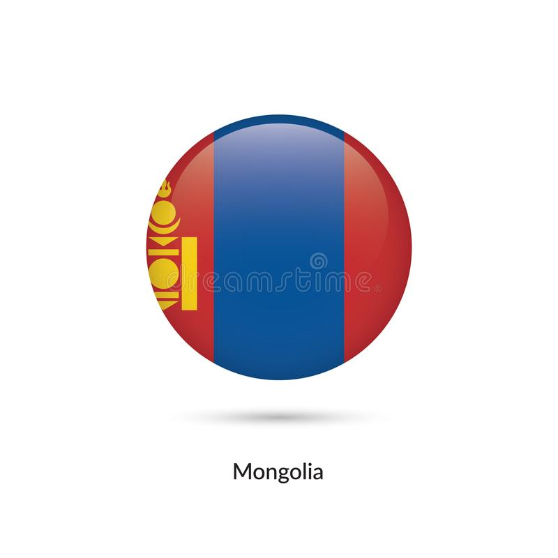Mongoliet flagga - rund glansig knapp stock illustrationer