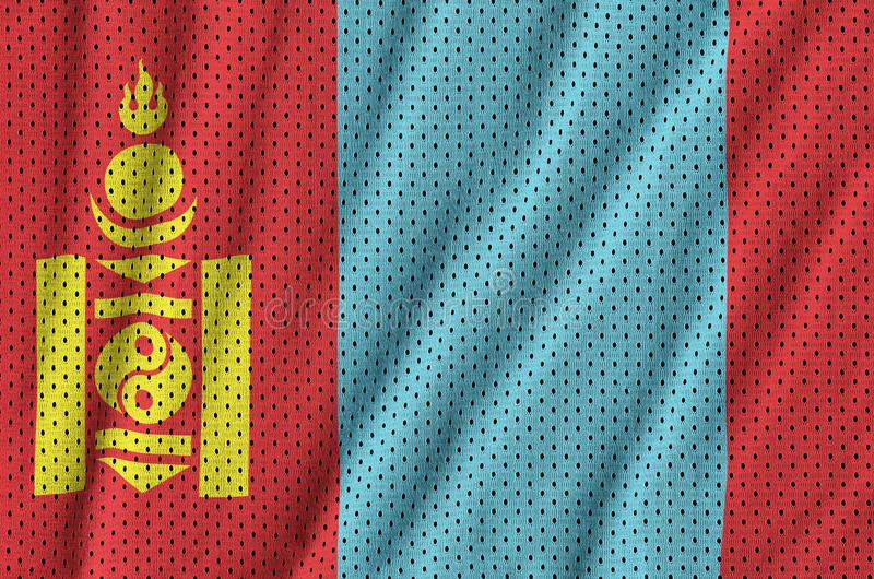 Mongoliet flagga som skrivs ut på en fabri för ingrepp för polyesternylonsportswear royaltyfria foton