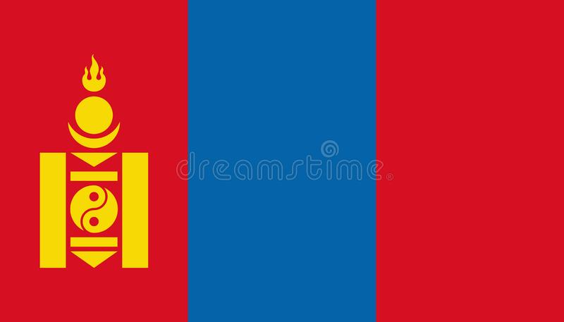 Mongoliet flaggasymbol i plan stil Nationell teckenvektorillustration Klok aff?rsid? stock illustrationer