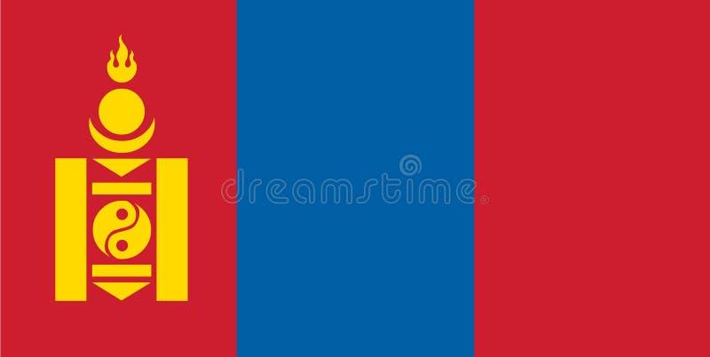 Mongoliet flaggavektor Illustration av den Mongoliet flaggan royaltyfri illustrationer