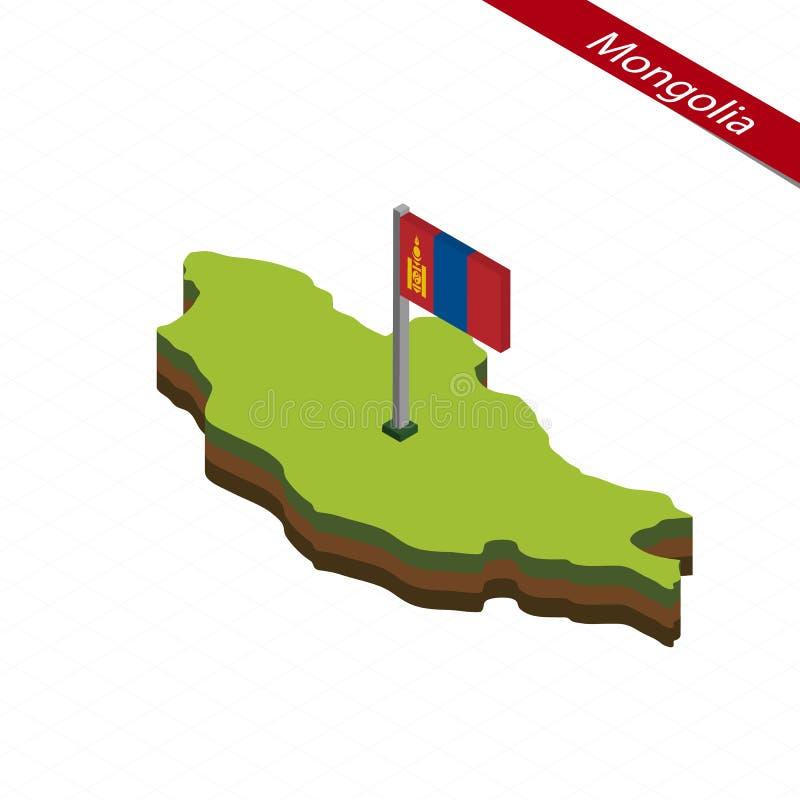 Mongoliet isometrisk översikt och flagga också vektor för coreldrawillustration royaltyfri illustrationer