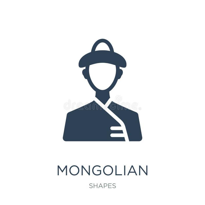 mongolische Ikone in der modischen Entwurfsart mongolische Ikone lokalisiert auf weißem Hintergrund einfache und moderne Ebene de stock abbildung