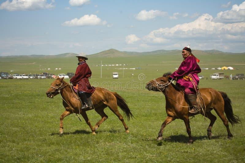 Mongolische Pferden-Rennläufer stockbilder