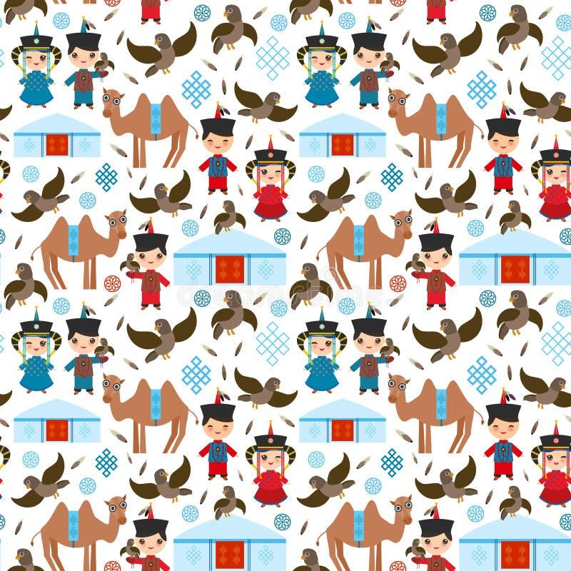 Mongolischer Junge des nahtlosen Musters und nationales Kostüm des Mädchens Karikaturkinder im Trachtenkleid Jäger, jagend mit ei lizenzfreie abbildung