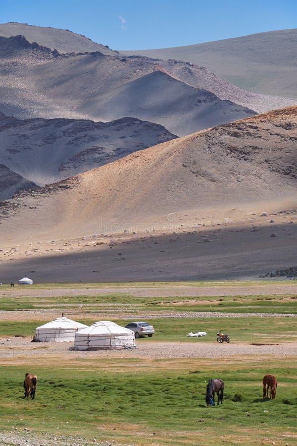Mongoliskt nomadläger Hästar och bil nära traditionell mongolian yurt arkivbild