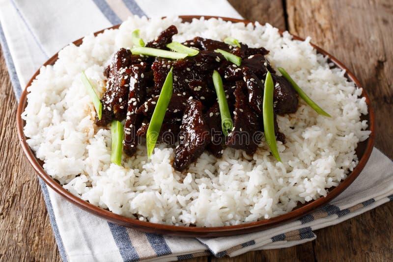 Mongools gebraden rundvlees met sesamzaden, groene uien en rijstcl stock fotografie