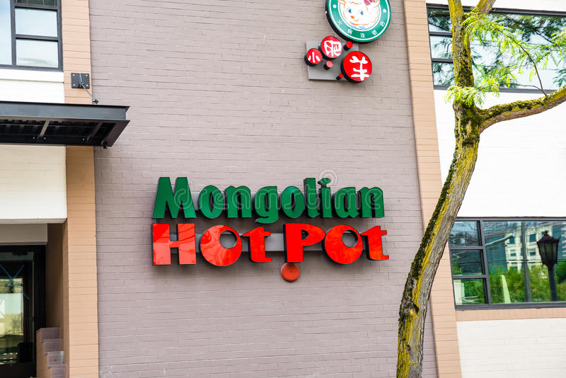 Mongools Heet Pottenrestaurant in Chinatown Seattle Washington royalty-vrije stock fotografie