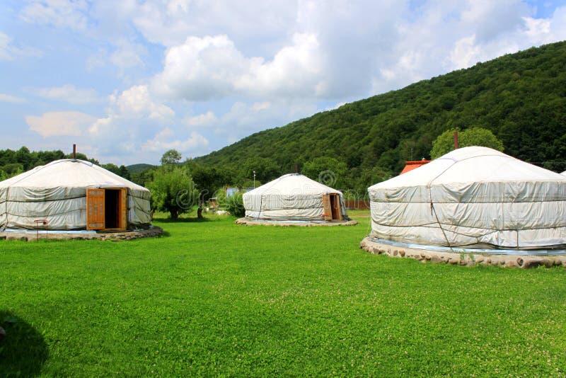 Mongools huis - yurts stock afbeelding