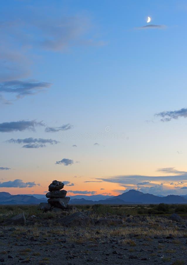 Mongools landschap met bergen en steppe royalty-vrije stock fotografie
