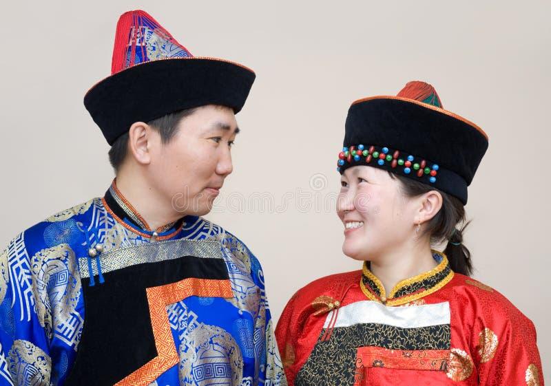 Mongools paar royalty-vrije stock foto's