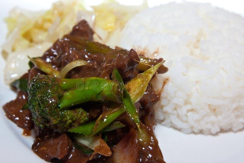 Mongools rundvlees met duidelijke rijst. stock afbeelding