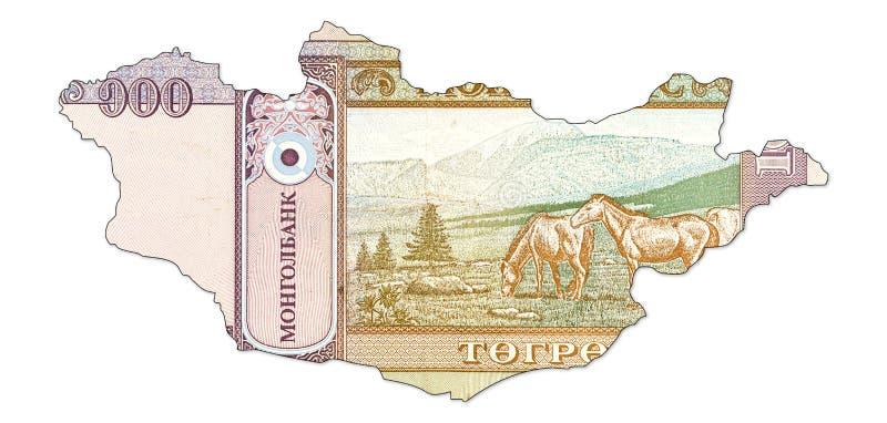 100 Mongools tögrögbankbiljet in vorm van Mongolië royalty-vrije stock fotografie