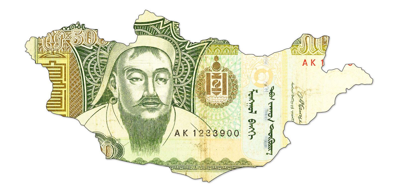 500 Mongools tögrögbankbiljet in vorm van Mongolië royalty-vrije stock afbeelding