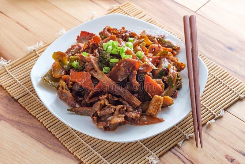 Mongoolse BBQ Rundvleesgroenten royalty-vrije stock foto