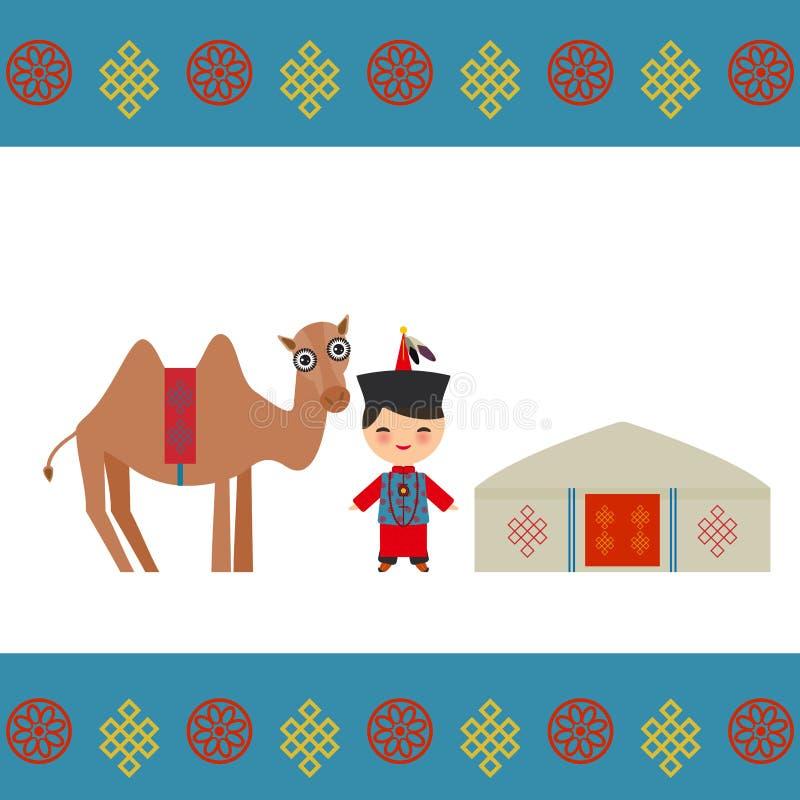 Mongoolse jongen in nationaal kostuum, kameel Architectuur van de traditionele woningen van Mongolië, zoals yurt en de tent behan vector illustratie