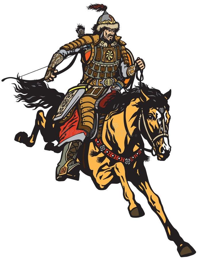 Mongoolse schutterstrijder op horseback stock illustratie