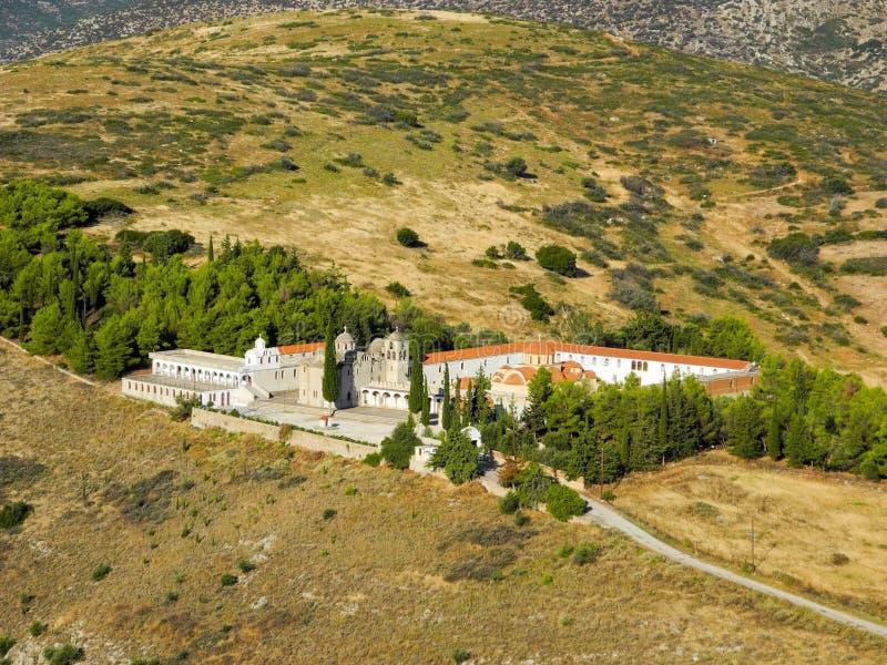 Moni Agion Anargiron. Panoramic view of the Monastery of Agioi Anargyroi, Argos, Greece royalty free stock image