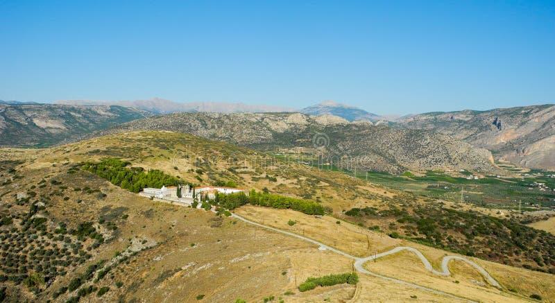 Moni Agion Anargiron. Panoramic view of the Monastery of Agioi Anargyroi, Argos, Greece stock image