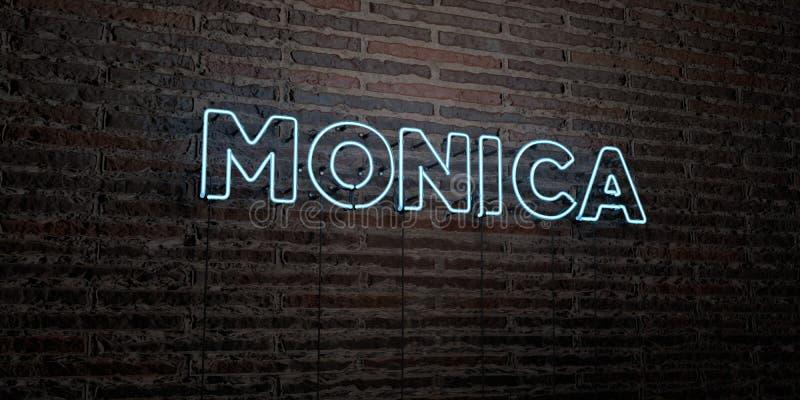 MONICA - enseigne au néon réaliste sur le fond de mur de briques - image courante gratuite de redevance rendue par 3D illustration libre de droits