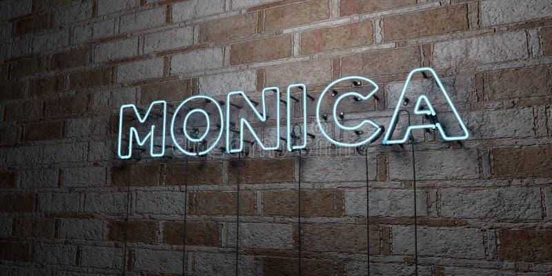 MONICA - Enseigne au néon rougeoyant sur le mur de maçonnerie - 3D a rendu l'illustration courante gratuite de redevance illustration stock