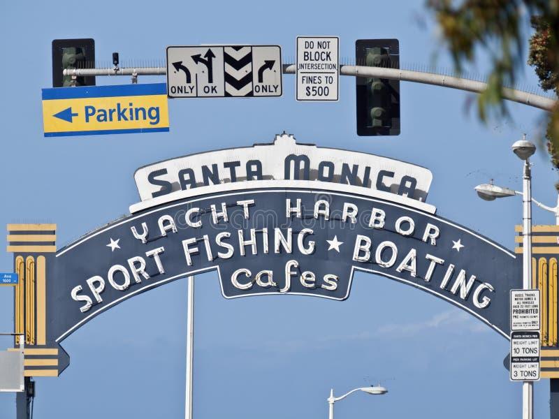 Monica-Pier-Eingangs-Zeichen lizenzfreies stockbild