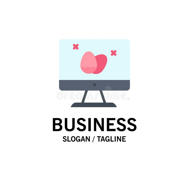 Moniteur, écran, oeuf, affaires Logo Template de Pâques couleur plate illustration libre de droits