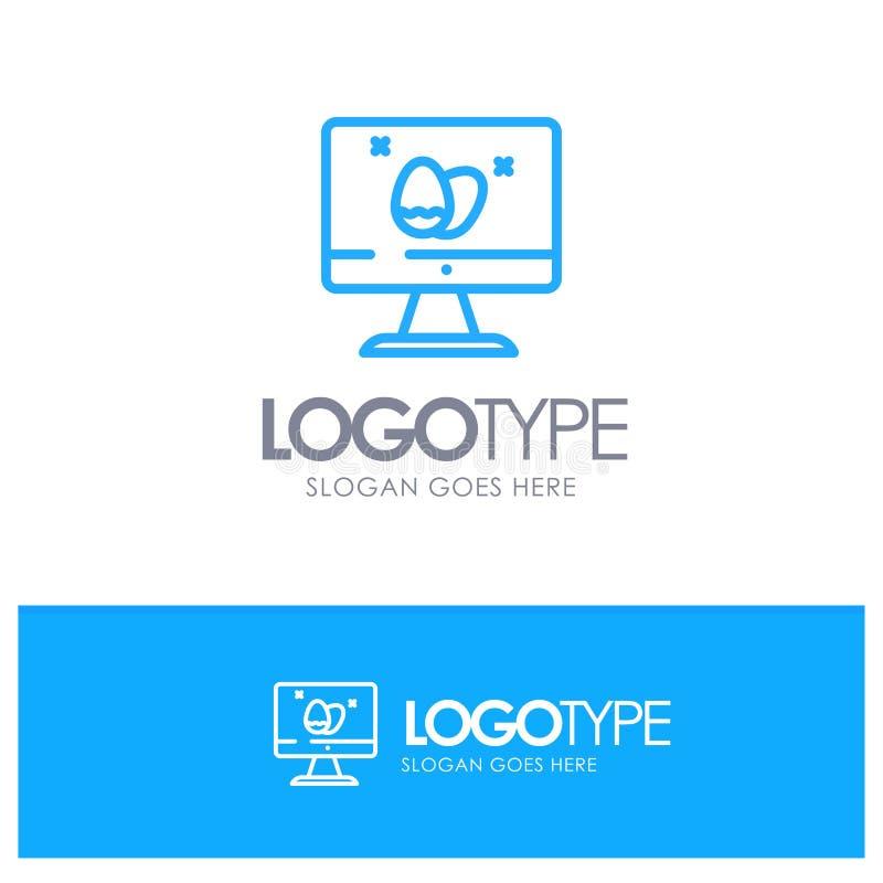 Moniteur, écran, oeuf, contour bleu Logo Place de Pâques pour le Tagline illustration libre de droits