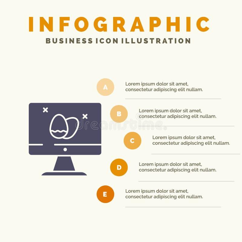 Moniteur, écran, oeuf, fond solide de présentation d'étapes d'Infographics 5 d'icône de Pâques illustration stock