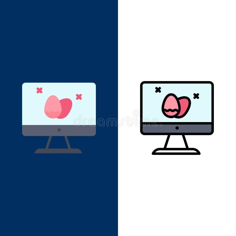 Moniteur, écran, oeuf, icônes de Pâques L'appartement et la ligne icône remplie ont placé le fond bleu de vecteur illustration libre de droits