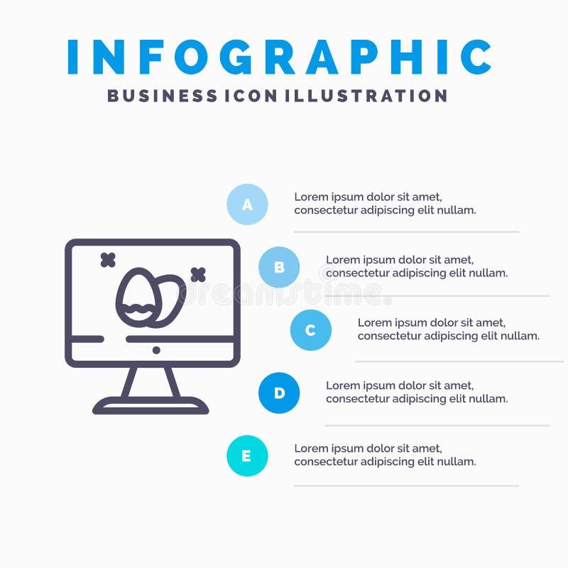 Moniteur, écran, oeuf, ligne icône de Pâques avec le fond d'infographics de présentation de 5 étapes illustration libre de droits