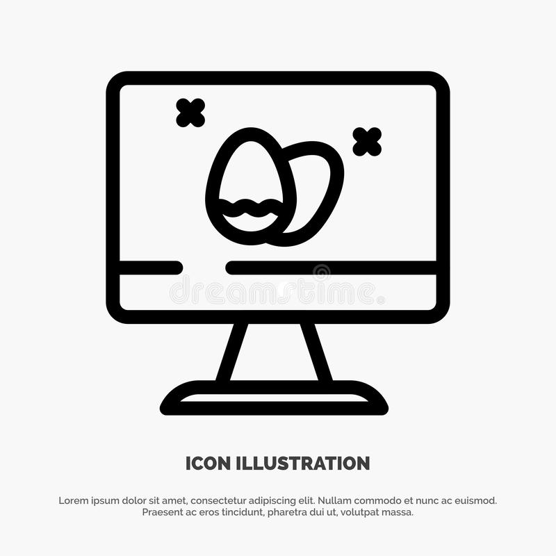 Moniteur, écran, oeuf, ligne vecteur de Pâques d'icône illustration libre de droits