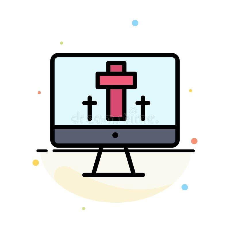 Moniteur, écran, Pâques, calibre plat d'icône de couleur d'abrégé sur oeufs illustration libre de droits