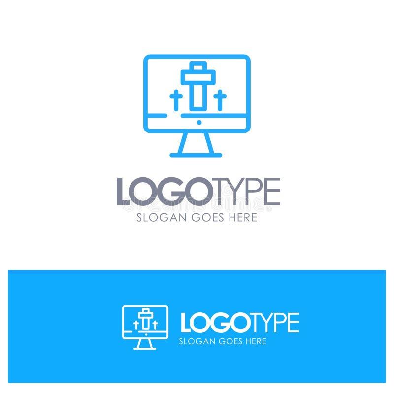 Moniteur, écran, Pâques, contour bleu Logo Place d'oeufs pour le Tagline illustration de vecteur