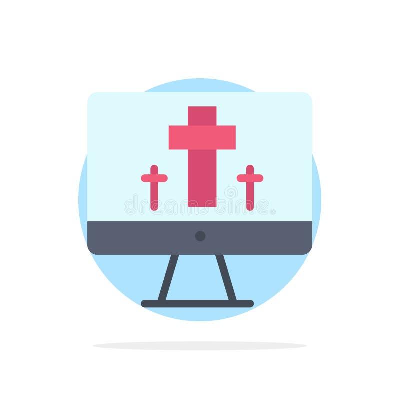 Moniteur, écran, Pâques, icône plate de couleur de fond de cercle d'abrégé sur oeufs illustration stock