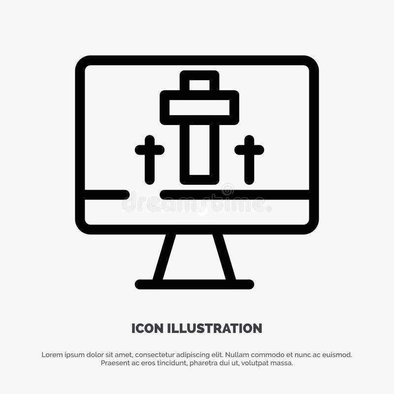 Moniteur, écran, Pâques, ligne vecteur d'oeufs d'icône illustration de vecteur