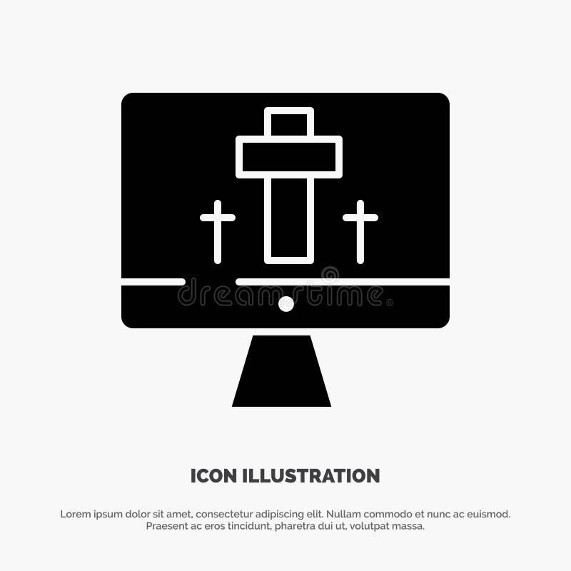 Moniteur, écran, Pâques, vecteur solide d'icône de Glyph d'oeufs illustration stock