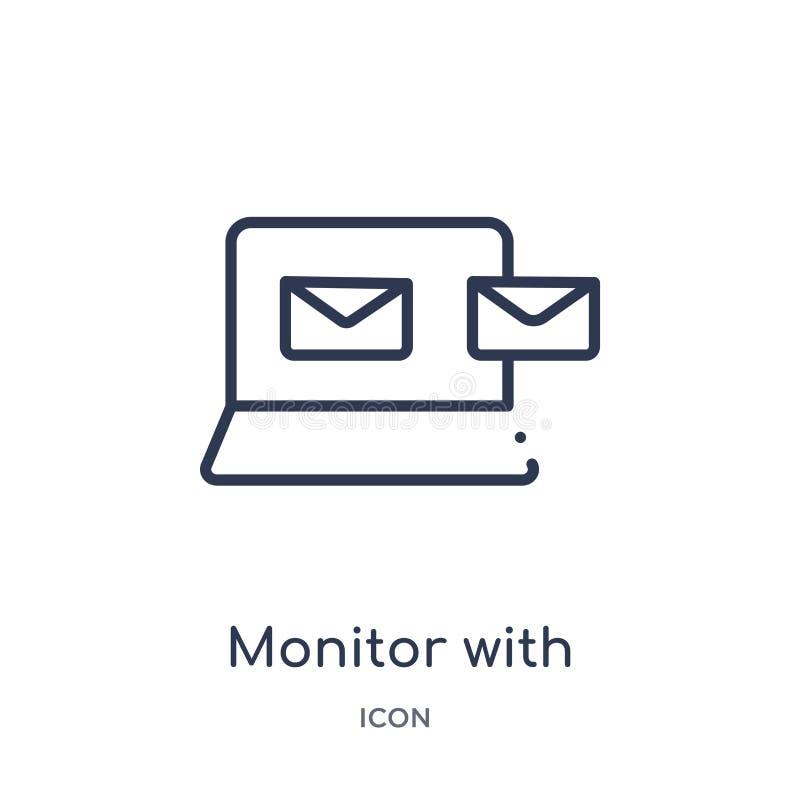 moniteur avec l'extinction d'enveloppes de message de l'icône d'écran de la collection d'ensemble d'outils et d'ustensiles Ligne  illustration libre de droits