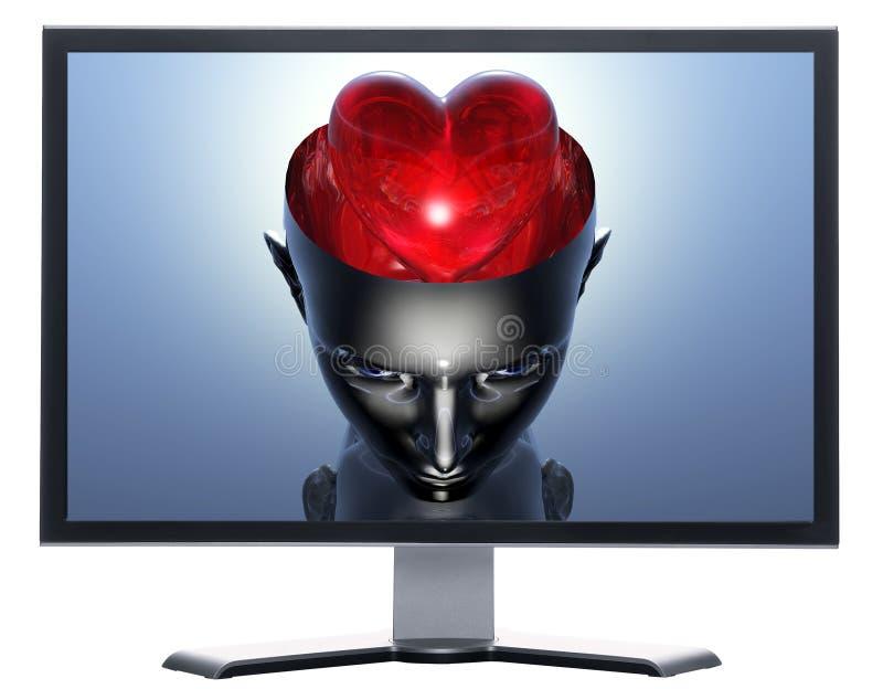 Moniteur avec le coeur 3D dans la tête de fille du cyborg 3D illustration stock