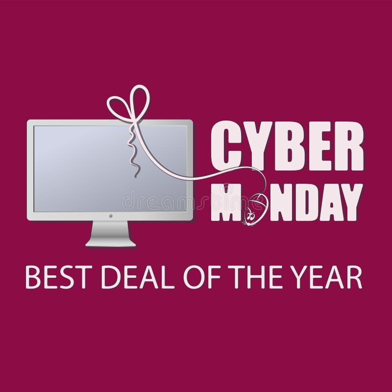 moniteur Cyber lundi avec une souris d'ordinateur LA MEILLEURE AFFAIRE DE L'ANNÉE illustration de vecteur