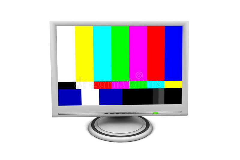 Moniteur d'écran plat d'affichage à cristaux liquides avec la carte-test image stock