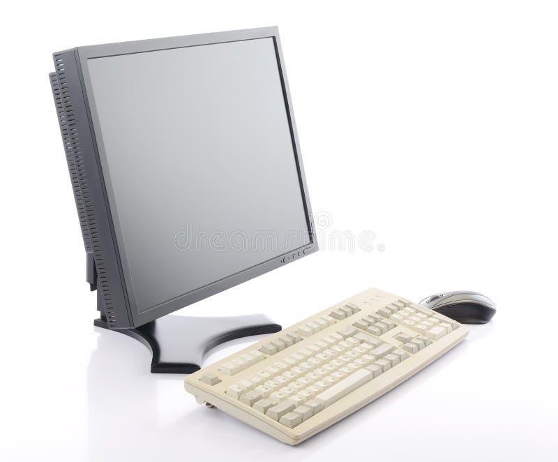 Moniteur d'affichage à cristaux liquides d'écran plat avec le clavier et la souris image libre de droits