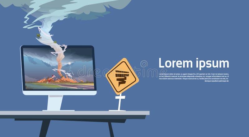 Moniteur d'ordinateur avec la tornade Imade et le paysage d'avertissement de panneau routier d'ouragan de la trombe de tempête da illustration de vecteur