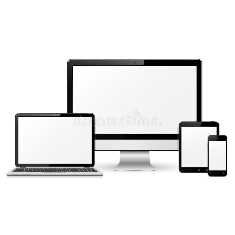 Moniteur d'ordinateur, ordinateur portable, PC de comprimé et calibre de téléphone portable pour la présentation sensible de conc illustration de vecteur