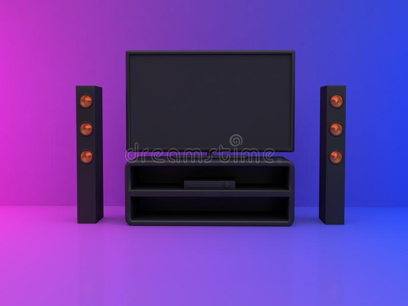 moniteur de télévision dans la scène bleue rose 3d de la chambre rendre le home cinéma, concept de divertissement illustration stock