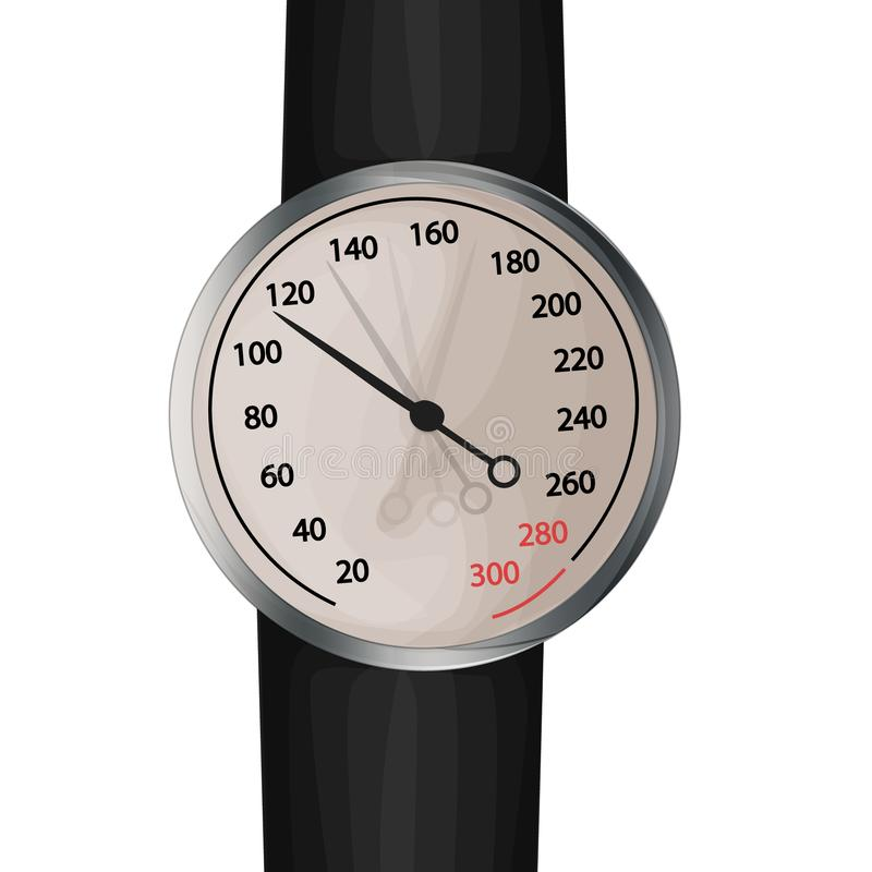 Moniteur de tension art?rielle Image de vecteur d'un sphygmomanometer mécanique anéroïde illustration libre de droits