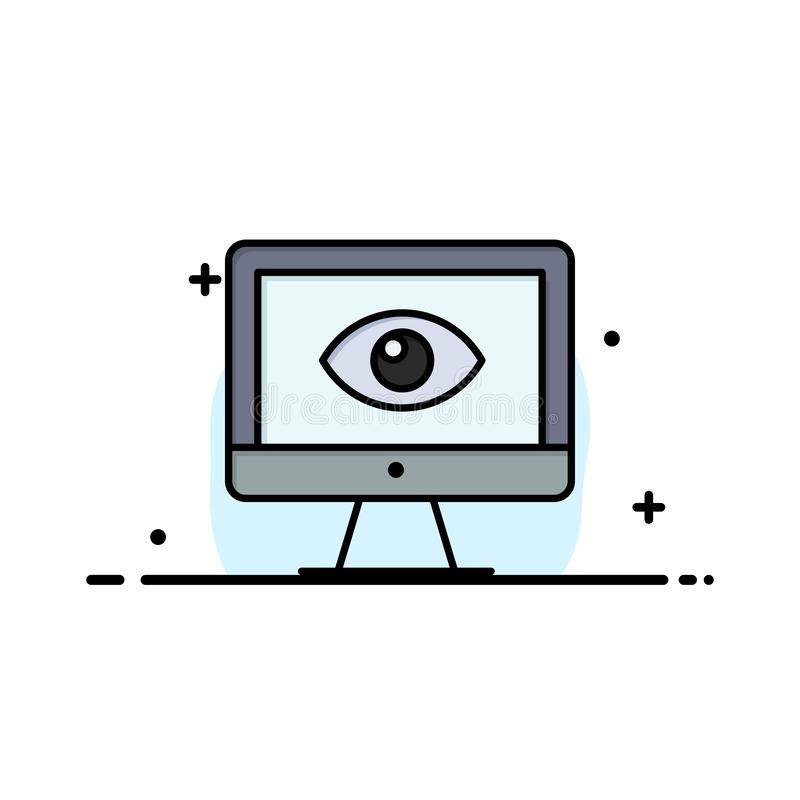 Moniteur, en ligne, intimité, surveillance, vidéo, affaires Logo Template de montre couleur plate illustration stock