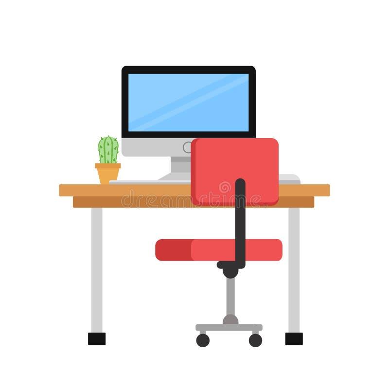 Moniteur et cactus sur la table et chaise d'ordinateur sur l'illustration blanche et courante de vecteur illustration libre de droits