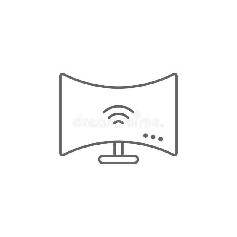 Moniteur incurvé, icône technologique Élément de l'icône du futur monde Icône de ligne mince pour la conception et le développeme illustration libre de droits